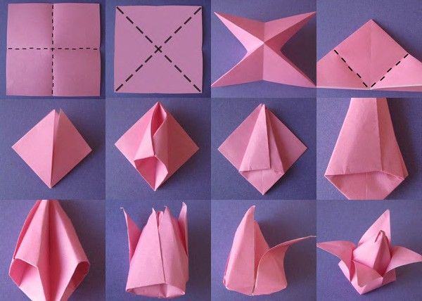 Instructions on how to make origami flowers