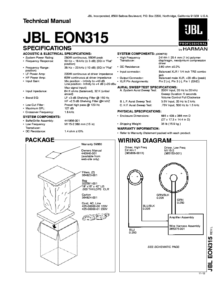 Jbl eon 510 service manual