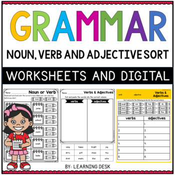Noun verb adjective adverb worksheet pdf