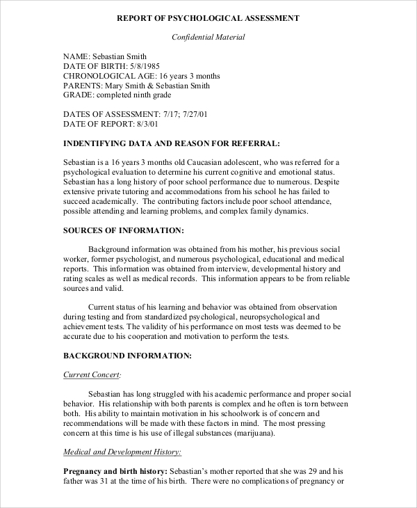 Psychological assessment and report writing pdf