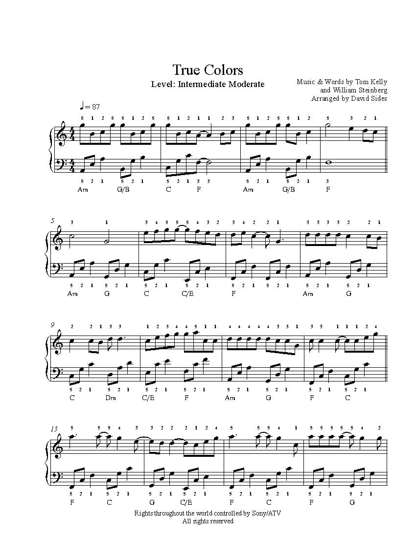 Sheet music true colors piano pdf