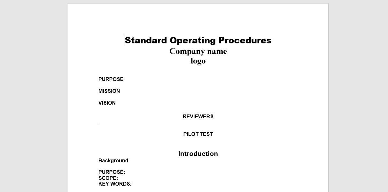 Standard operating procedure manual examples