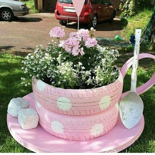 tea cup decorations tire planter instructions
