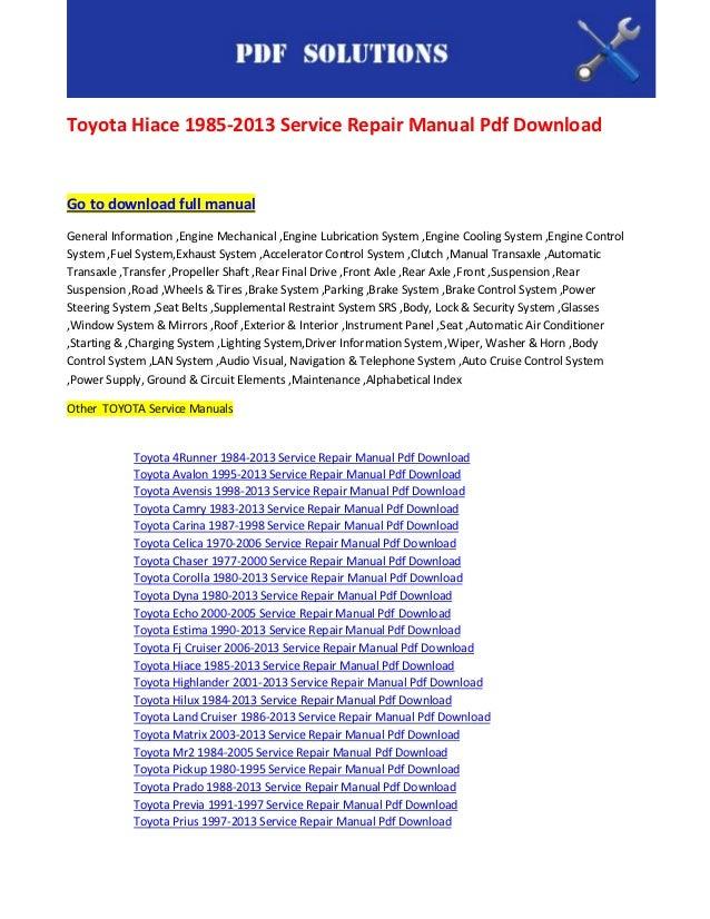 Toyota hiace service manual pdf