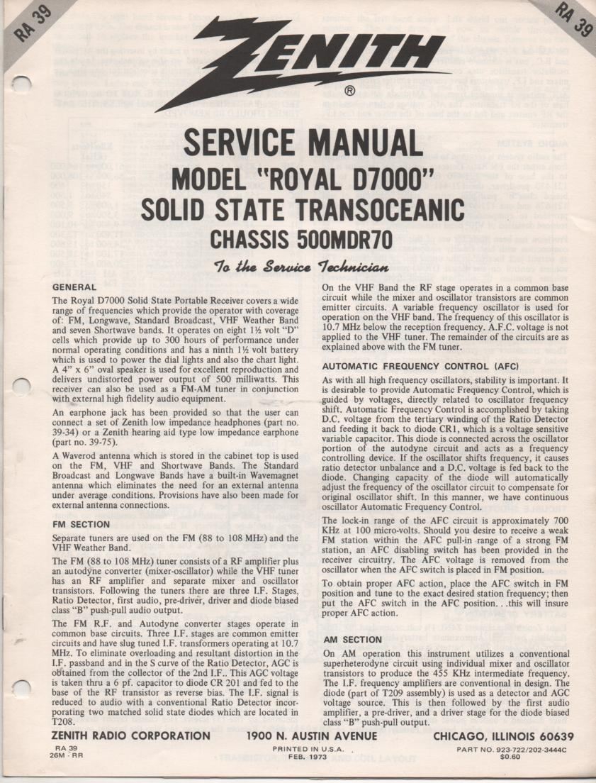 Zenith royal 7000 service manual